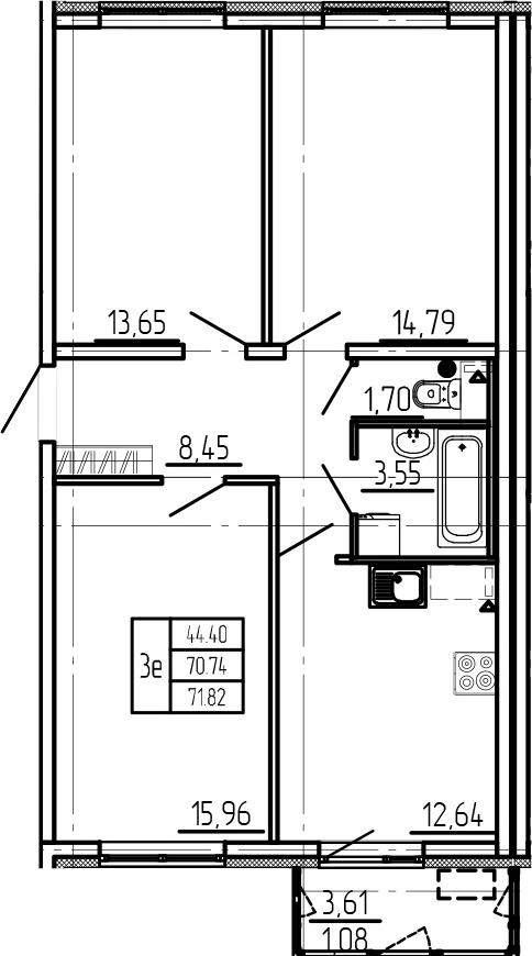 3-комнатная, 71.82 м²– 2