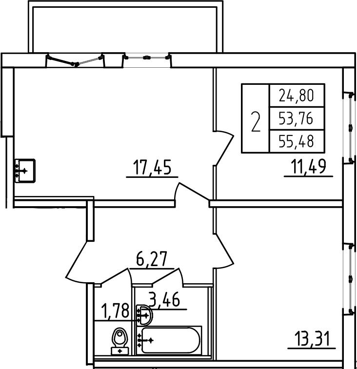 3-к.кв (евро), 59.49 м²