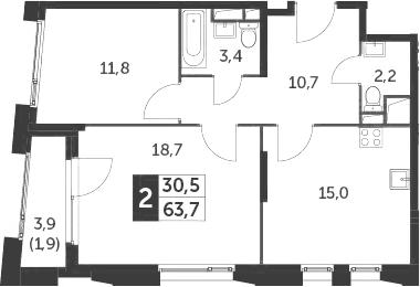 3-к.кв (евро), 65.6 м²