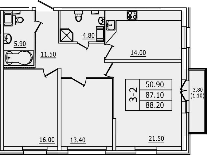 3-к.кв, 88.2 м², 2 этаж