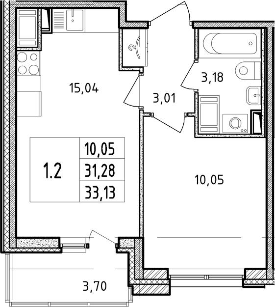2Е-к.кв, 31.28 м²