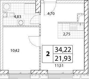 1-к.кв, 34.22 м²