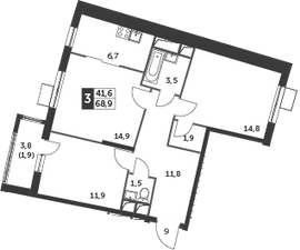 3Е-к.кв, 68.9 м², 2 этаж