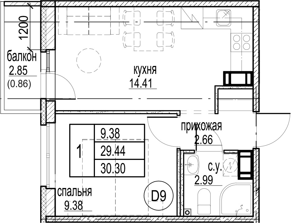 1-к.кв, 32.31 м²