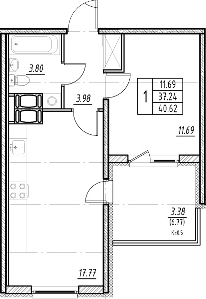 2Е-к.кв, 37.24 м²