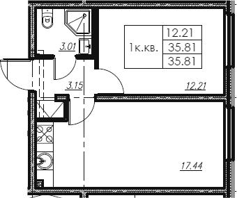 2Е-к.кв, 35.81 м², от 4 этажа