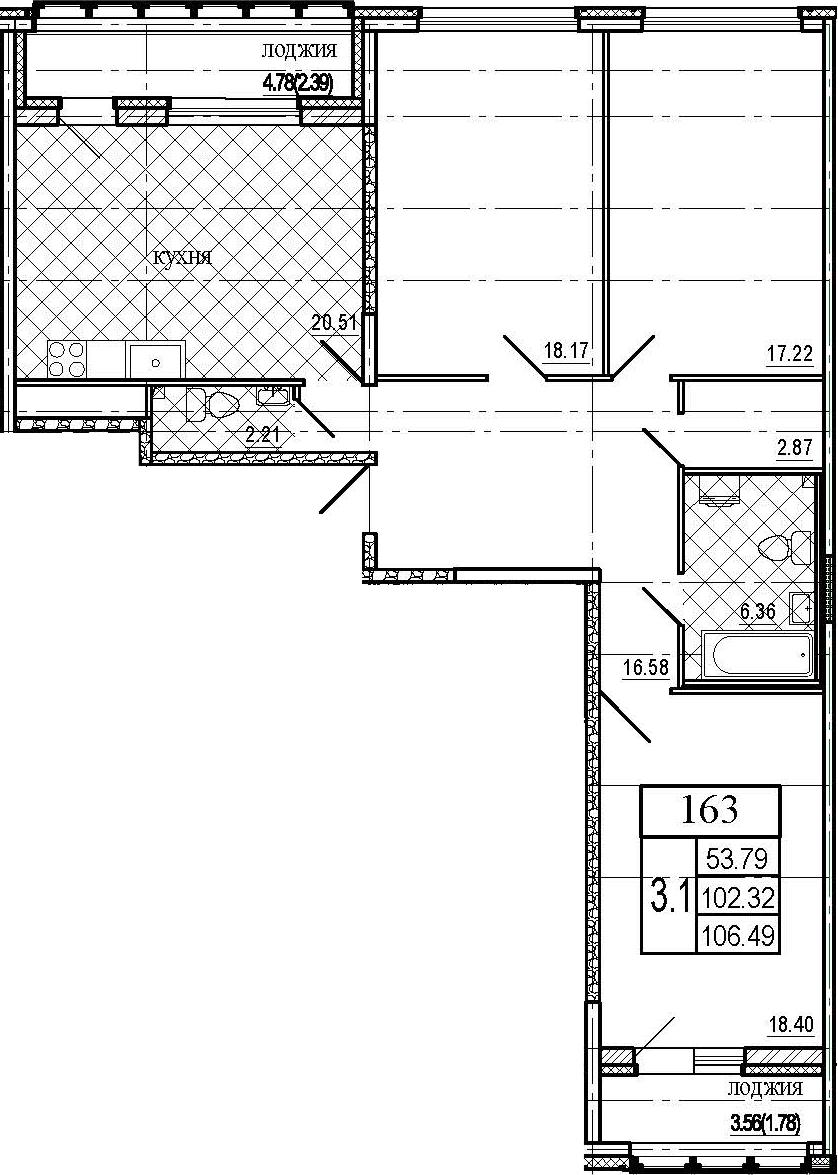 4Е-комнатная, 106.49 м²– 2