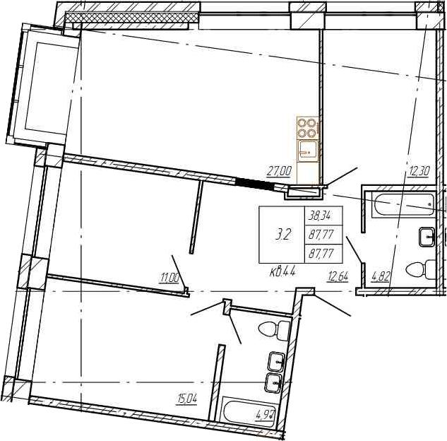 4Е-комнатная, 87.77 м²– 2