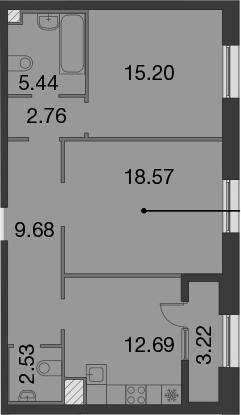 2-к.кв, 70.09 м²