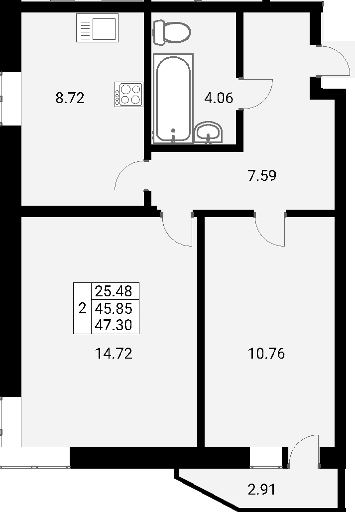 2-к.кв, 48.75 м²