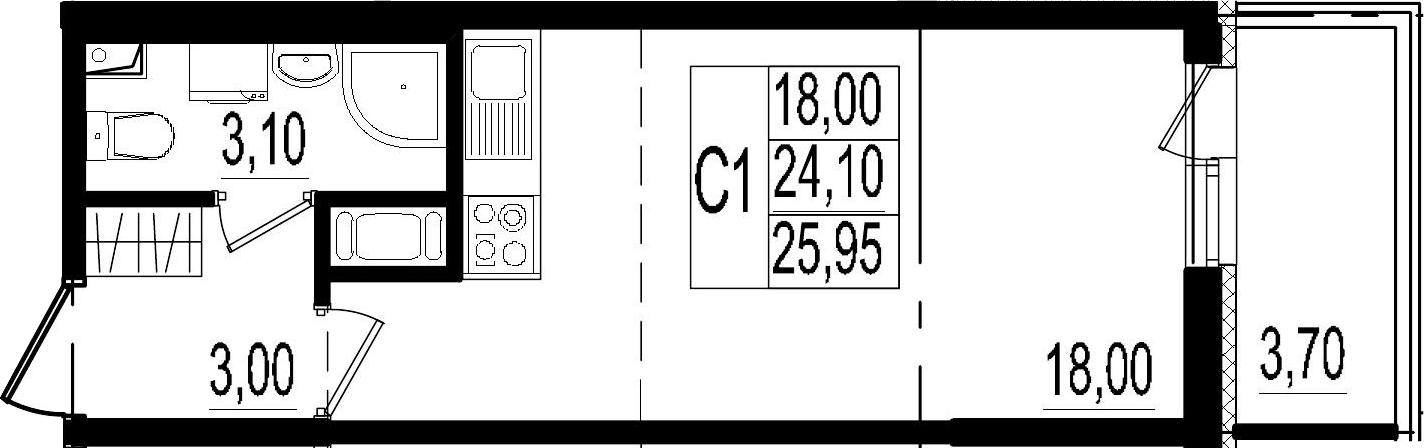 Студия, 24.1 м², 2 этаж