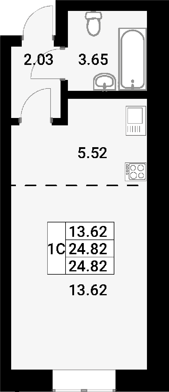 Студия, 24.82 м²