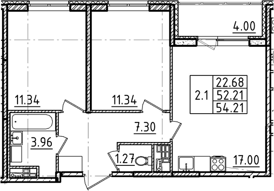 3Е-комнатная, 54.21 м²– 2