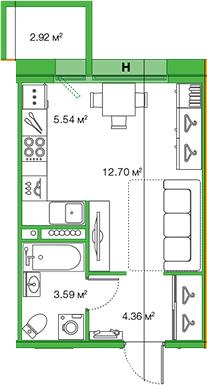 Студия, 26.19 м²– 2