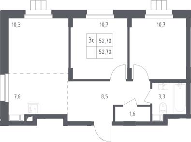 3Е-к.кв, 52.7 м², от 11 этажа