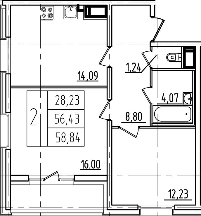 3-к.кв (евро), 61.25 м²