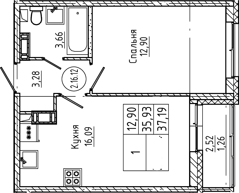 2Е-к.кв, 37.19 м², от 3 этажа