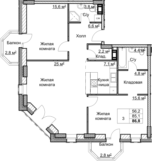 3Е-комнатная, 86.8 м²– 2