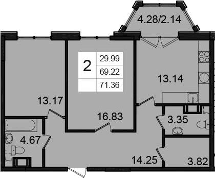 2-к.кв, 71.36 м²