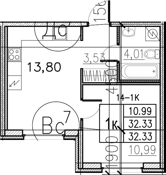 2Е-комнатная, 32.33 м²– 2