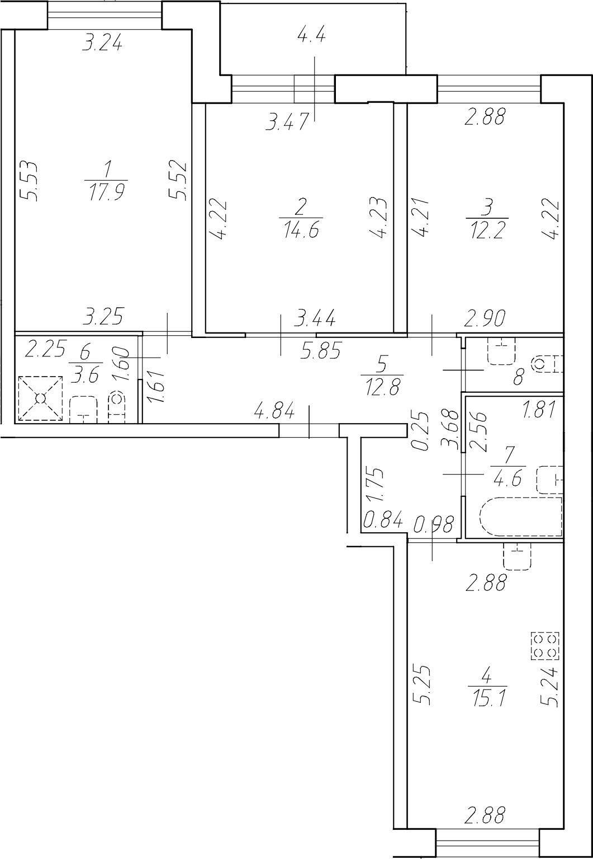 4Е-комнатная, 82.7 м²– 2