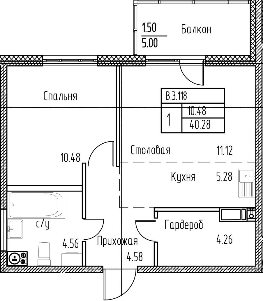 2-к.кв (евро), 45.28 м²