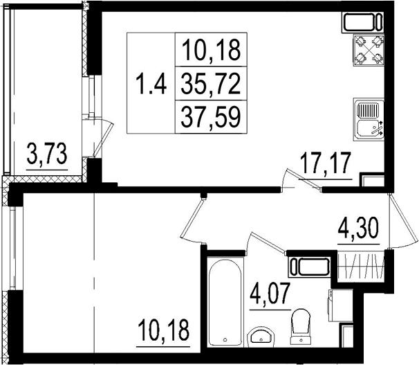 2Е-комнатная, 35.72 м²– 2