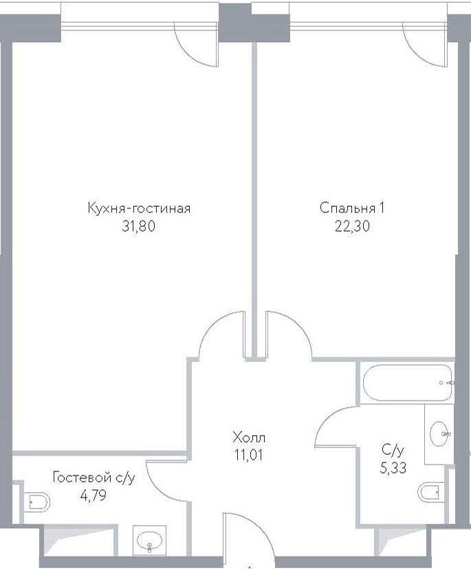 2Е-комнатная, 75.23 м²– 2