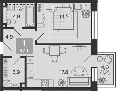 2Е-комнатная, 47.1 м²– 2