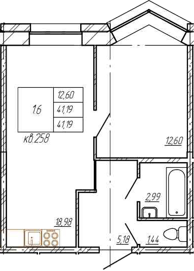 2Е-комнатная, 41.19 м²– 2