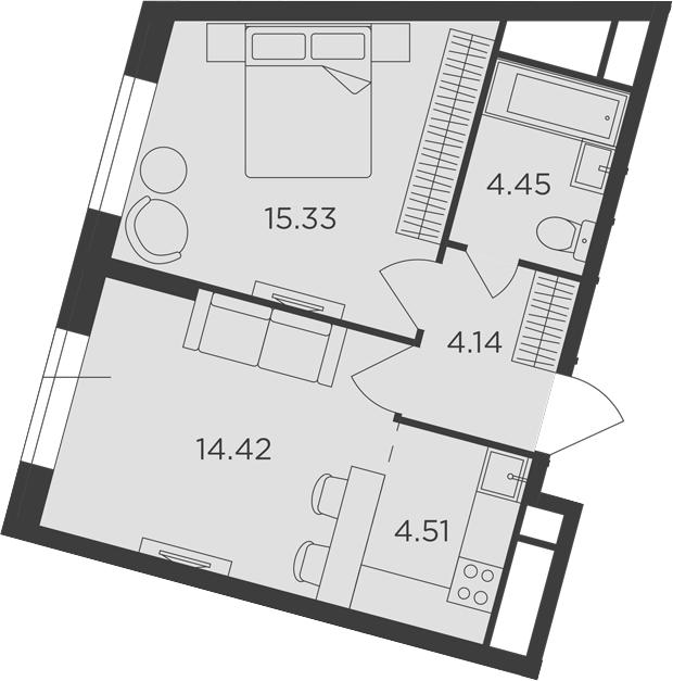 2Е-к.кв, 42.85 м²