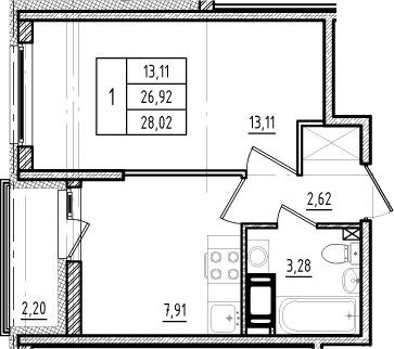 1-к.кв, 26.92 м², 15 этаж