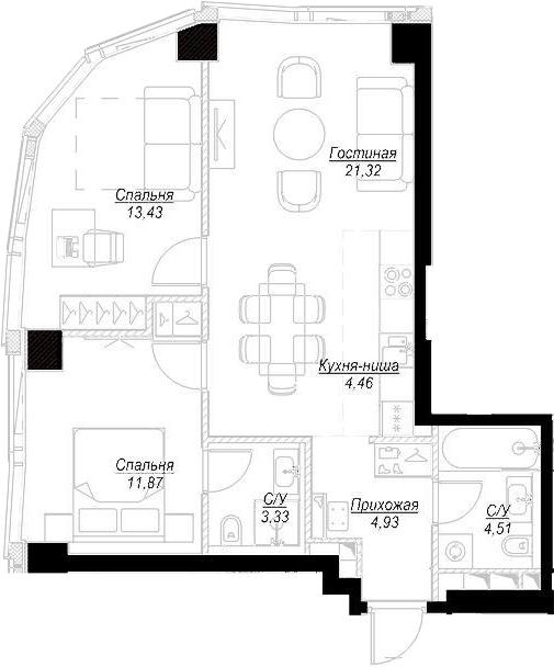 3Е-комнатная, 63.72 м²– 2