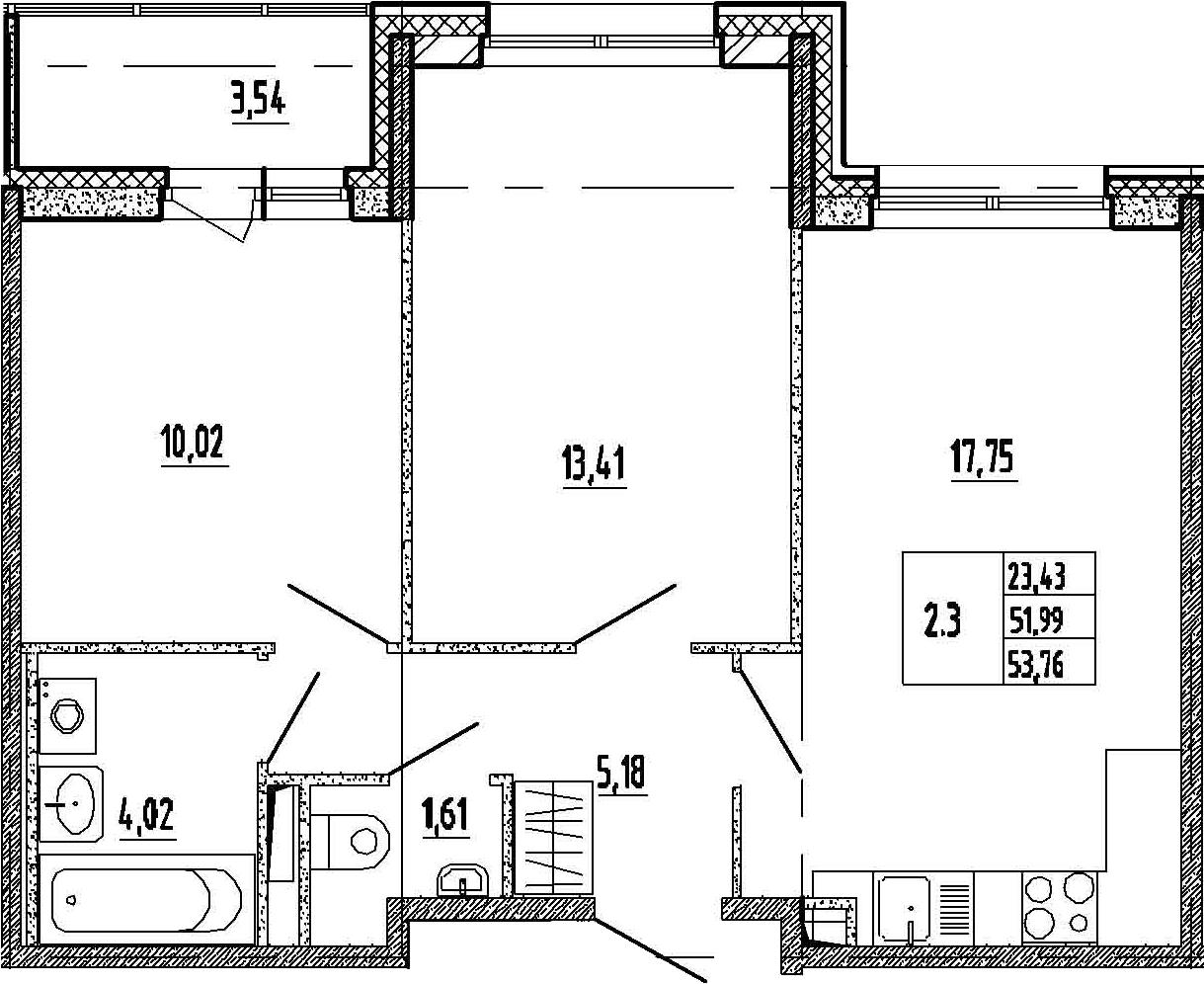 3-к.кв (евро), 55.53 м²
