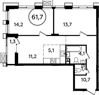 3-к.кв (евро), 63 м²