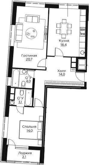 3Е-к.кв, 76.3 м²