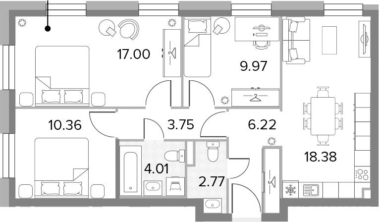 4-к.кв (евро), 72.46 м²