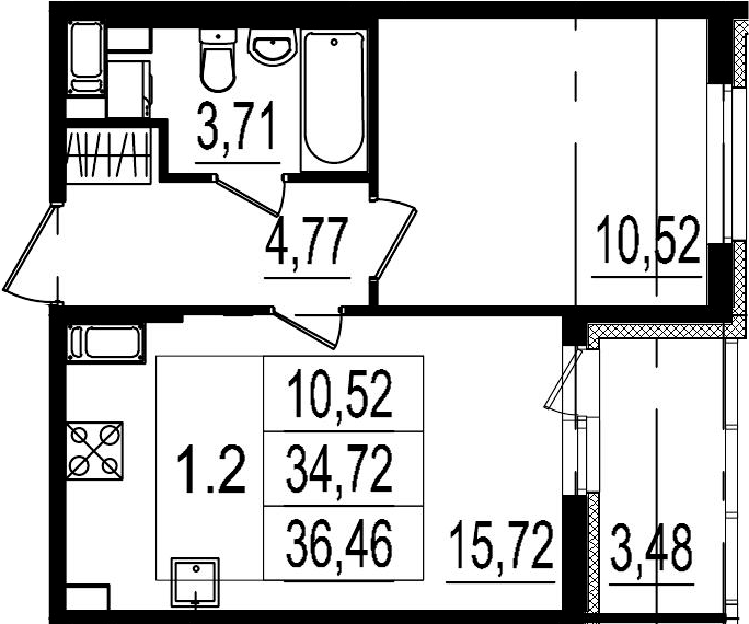 2Е-комнатная, 34.72 м²– 2