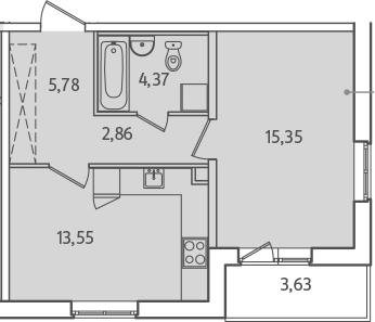 1-к.кв, 45.54 м²