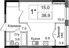 Студия, 38.9 м²– 2