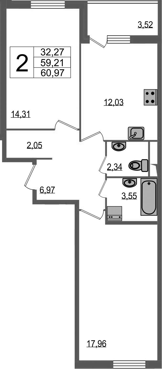 2-к.кв, 62.73 м²