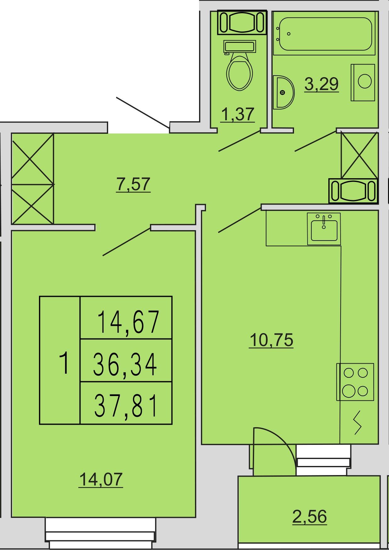 1-к.кв, 40.69 м²