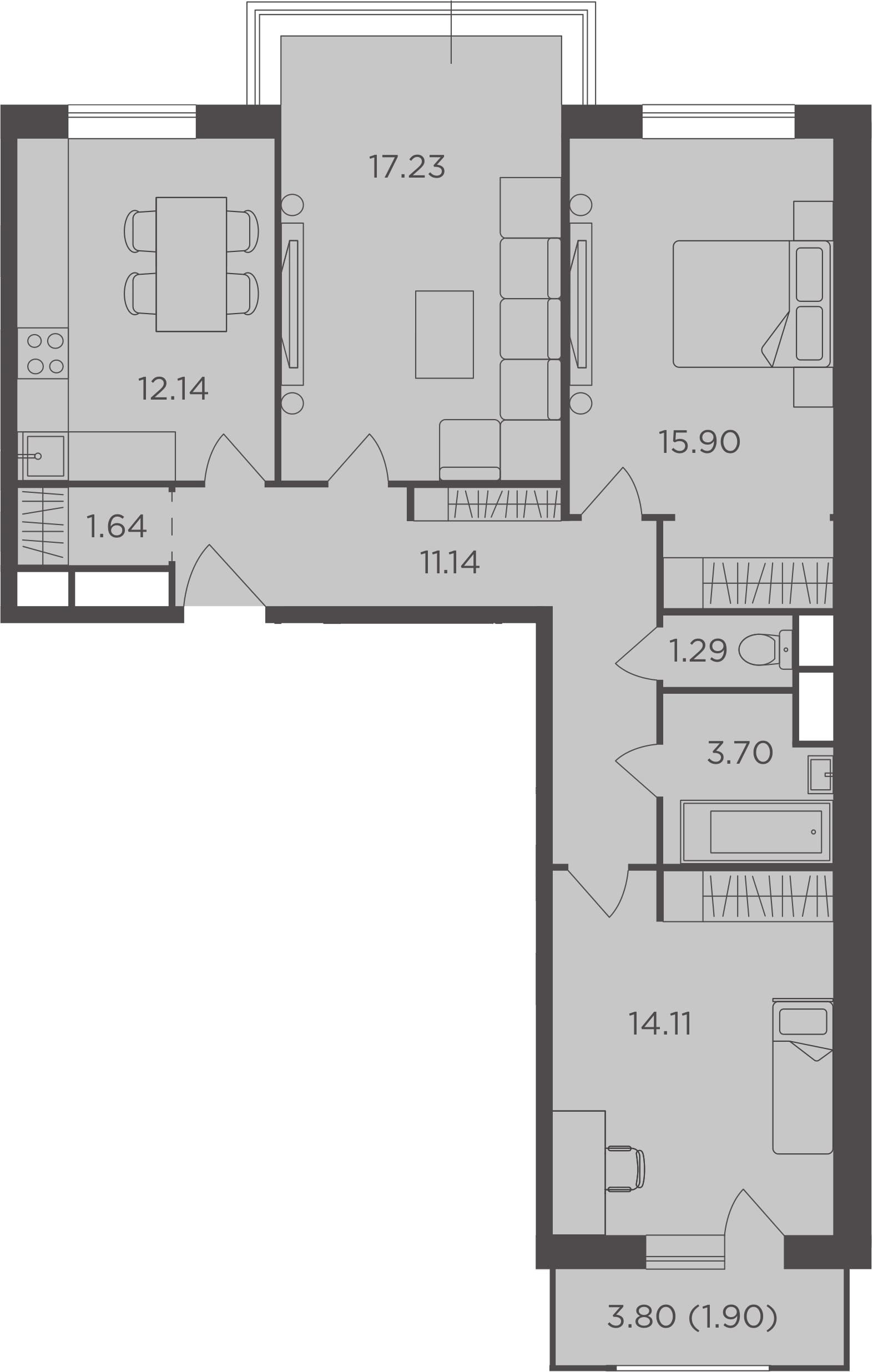 3-к.кв, 79.05 м²