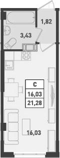 Студия, 21.28 м²