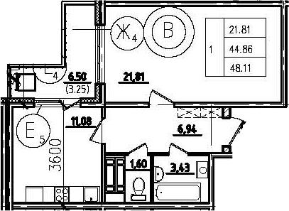 1-к.кв, 50.95 м²