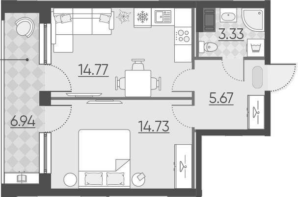1-к.кв, 45.44 м²