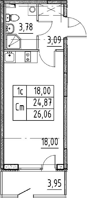 Студия, 24.87 м²