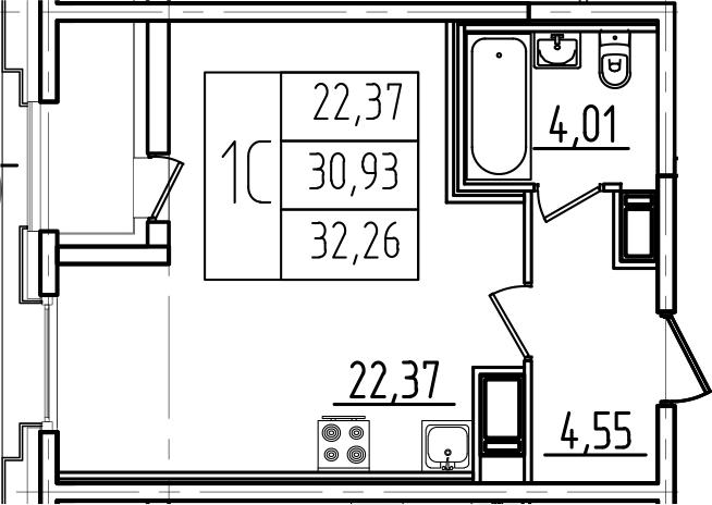 Студия, 32.26 м²