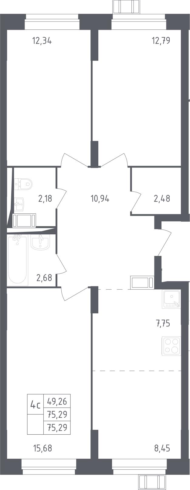 4Е-комнатная, 75.29 м²– 2