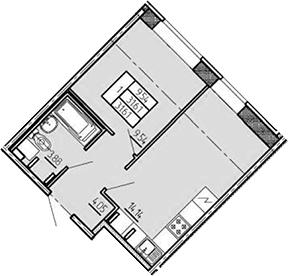 1-к.кв, 31.61 м², 1 этаж
